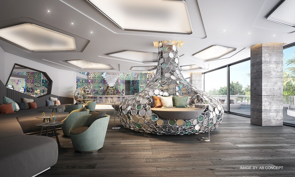 A rendering of the Living Room at W Algarve