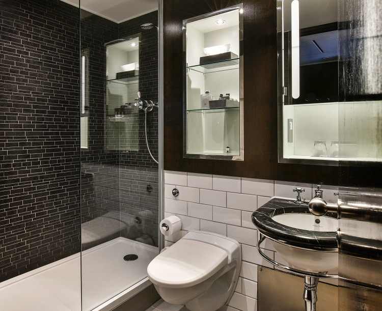 Andaz Hotel Bathroom featuring a Versital bespoke shower tray