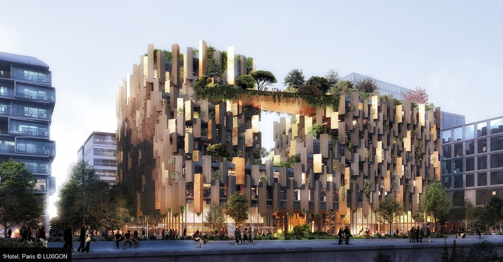 Kengo kuma to develop 39 eco luxury 39 1hotel in paris hotel for Design hotel paris 11