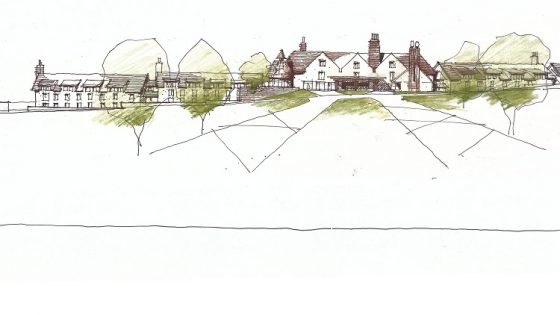 An illustration of how the Longleat hotel resort could look hugging the contours
