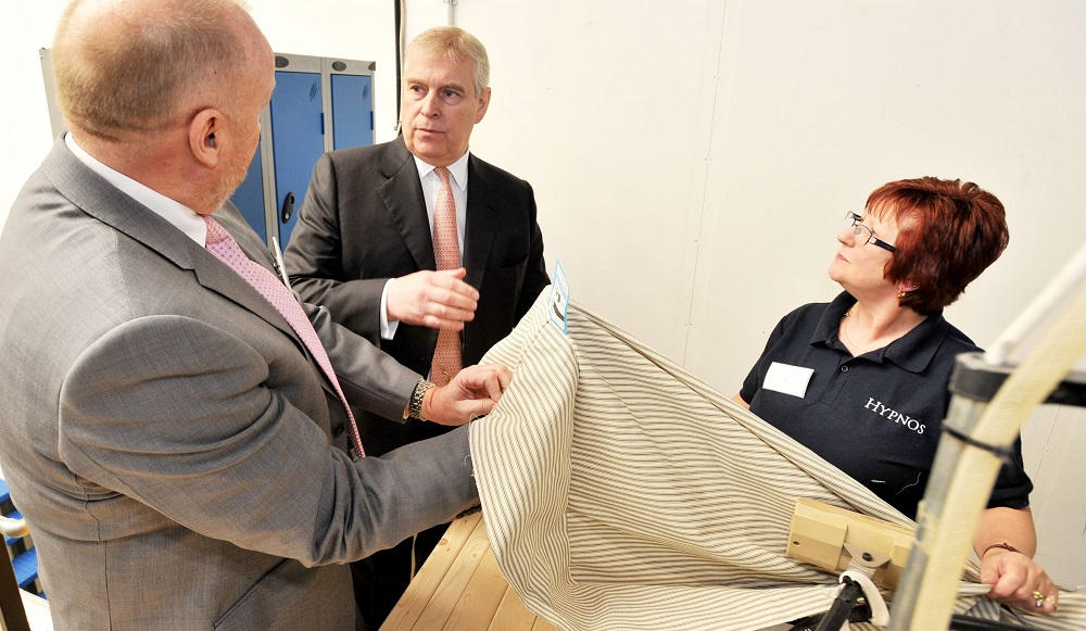 HRH Duke of York opening Hypnos contract factory