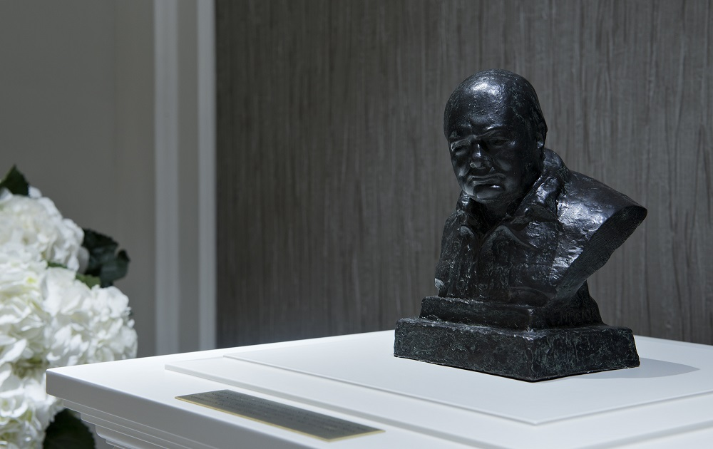 Sir Winston Churchill Sculpture located in hallway.