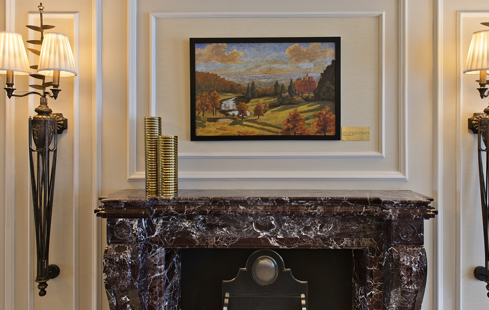 Winston S. Churchill View of Chartwell. Oil on canvas C. 1938. Reproduced by permission of Churchill Heritage Ltd. Located above fireplace in sitting room on right of staircase