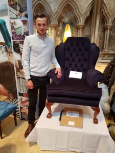 Student Darren Blackwell, an apprentice upholsterer, showcased his first-class skills with a little help from luxury fabric supplier, Kobe UK.