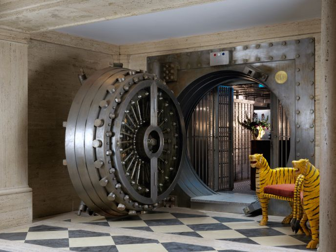 The Ned - vault entrance to basement bar