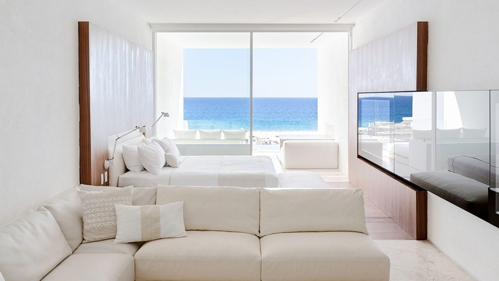 Clean white interiors in the suites