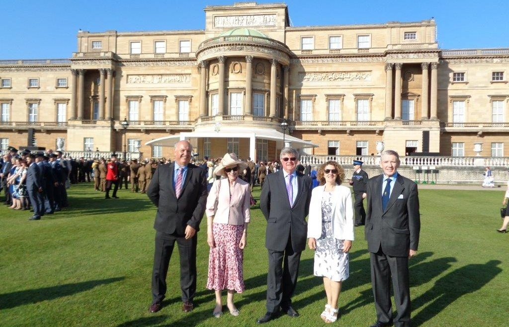 Trustees from the Royal Maritime Club plus their guest Diana Nesbitt at Buckingham Palace