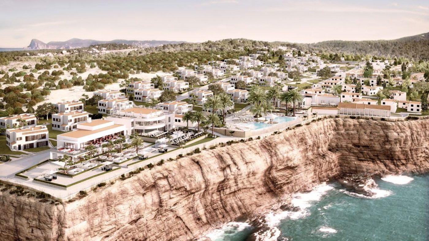 Coastline view of Seven Pines Resort on Ibiza's west coast