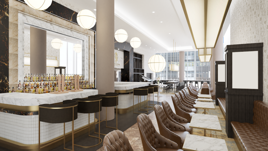 Light, contemporary bar with accents of gold in the finishes