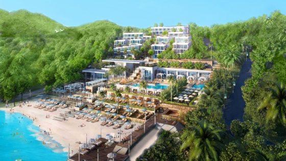 Exterior shot of hotel on pristine beach