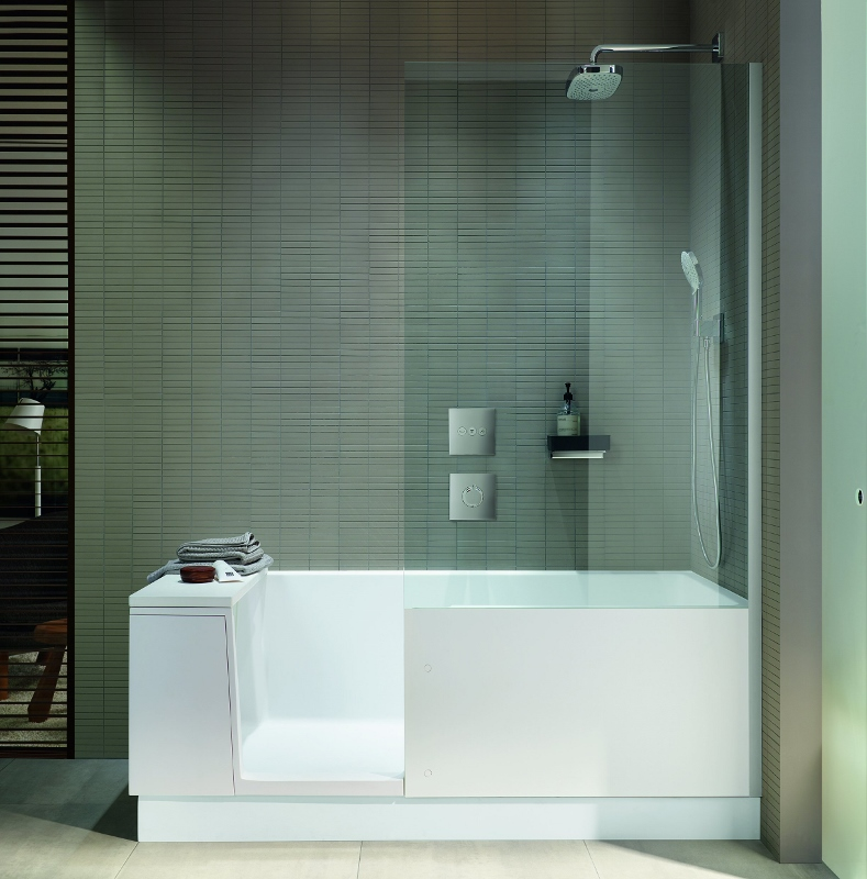 Side shot of the Shower + Bath in a modern bathroom