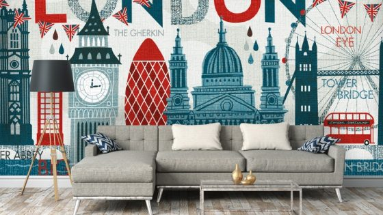 Colourful wall mural resembles skyline of London