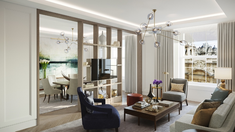 Modern suite with statement lighting and understated TV