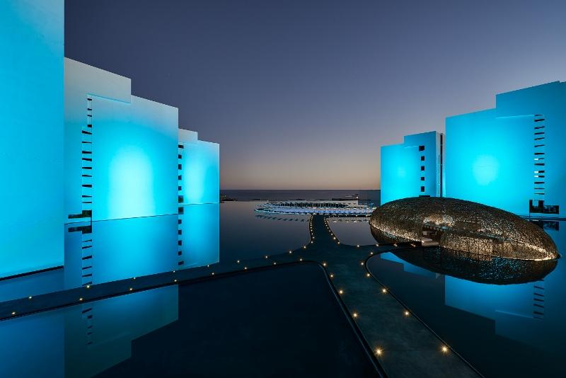 Futuristic designed exterior of hotel