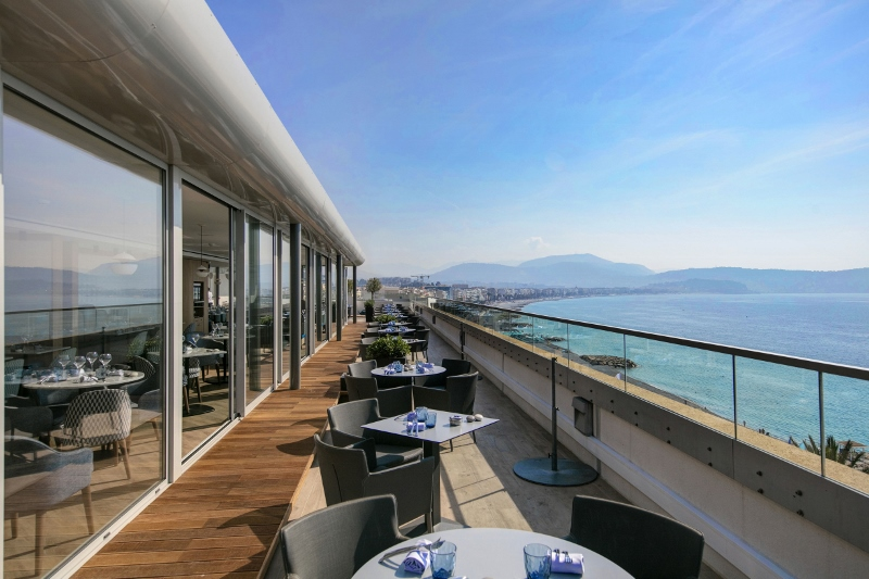 Rooftop restaurant/bar overlooking striking Mediterranean views