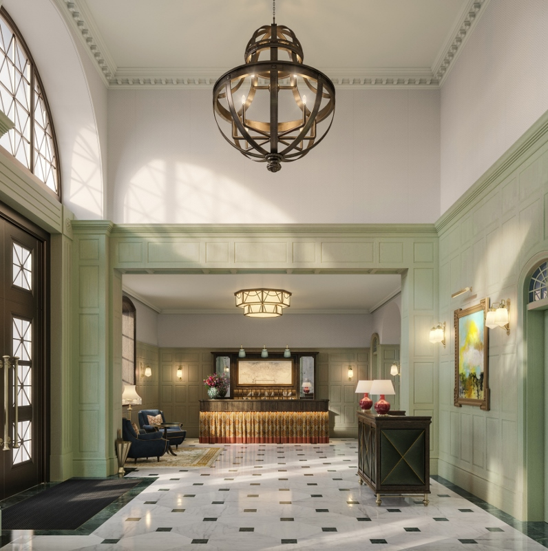 large lobby with statement chandelier lighting