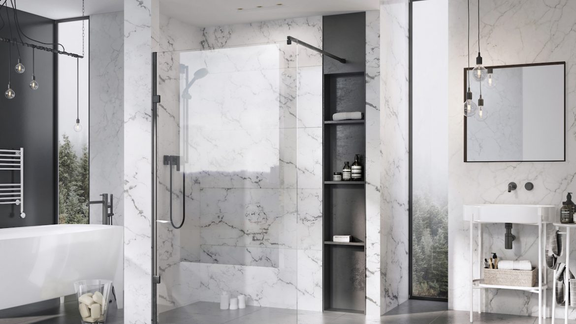 modern bathroom featuring matt black shower panel