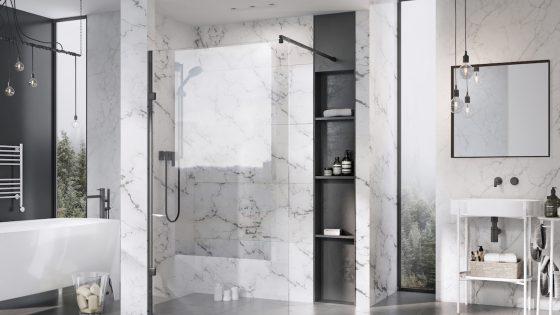 modern bathroom featuring matt black shower panel