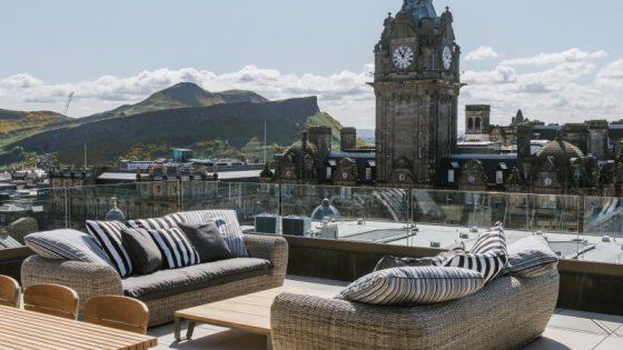 rooftop views over Edinburgh