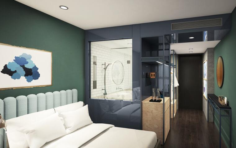 Calm interiors in guestroom