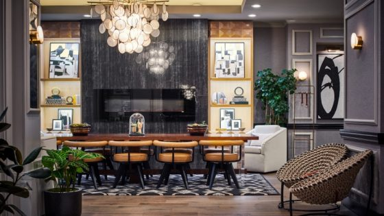 Modern, dimly lit lobby