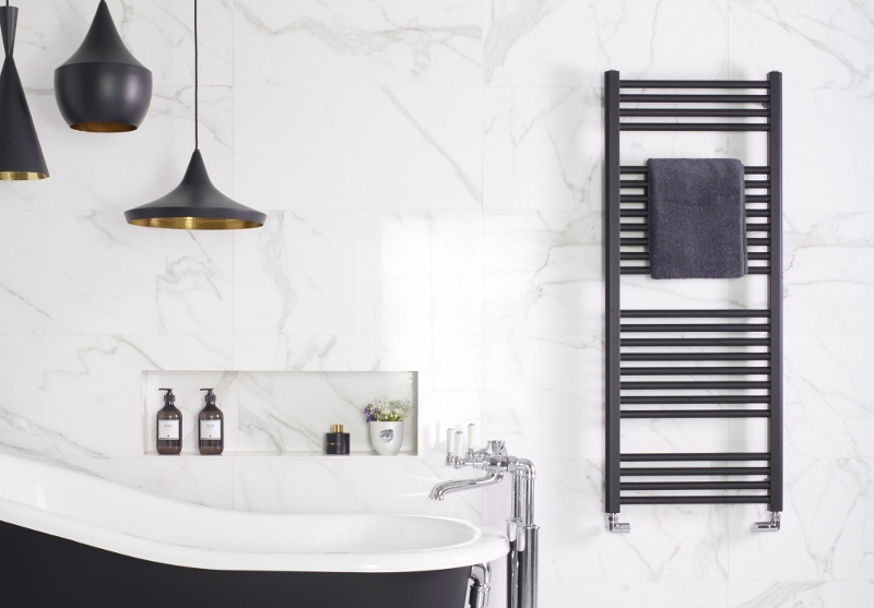 Black radiator in bathroom