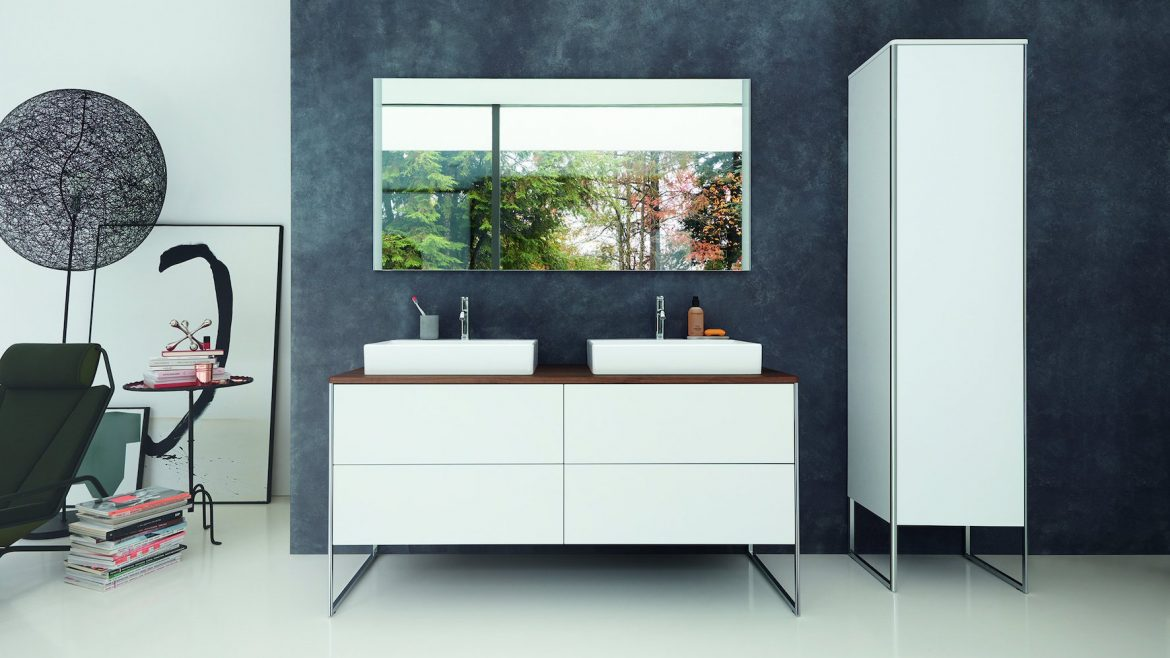 XSquare console vanity unit in White Satin Matt, with console in Dark Walnut, DuraSquare above counter basin with C.1 tap fitting (Design by Kurt Merki Jr.)