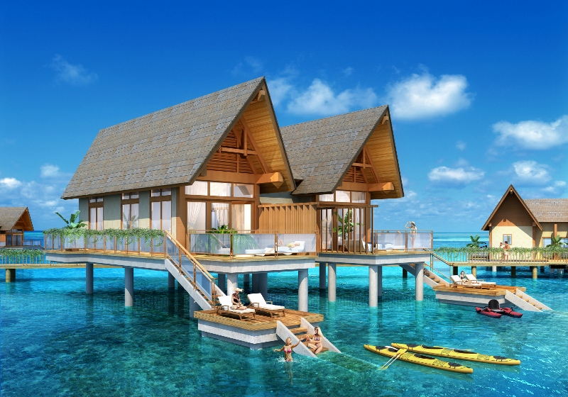 Render of over-water luxury featuring guests in ocean