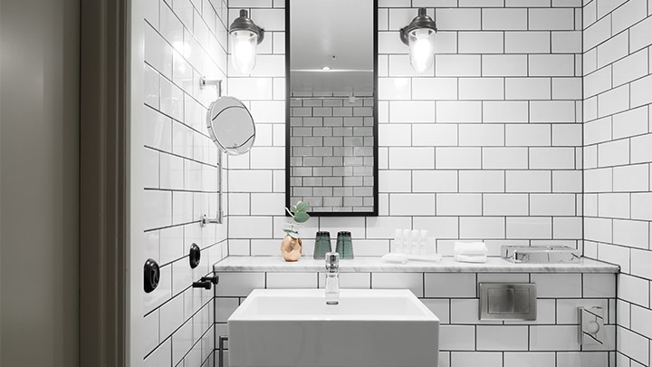 Modern, white and clean bathroom