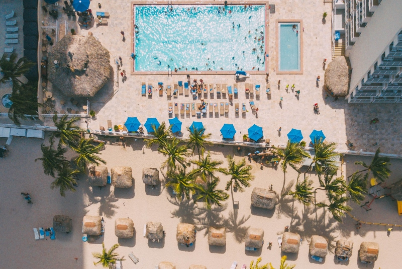 Aerial image of a hotel