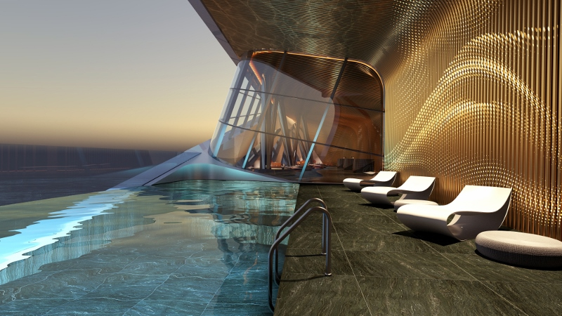 Render of rooftop pool of boutique hotel