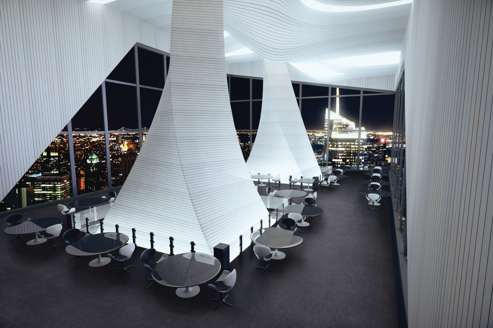 Modern interior of a large restaurant with black floors and large windows at evening
