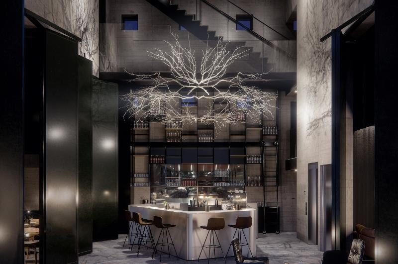 Hotel lobby, dark and mysterious