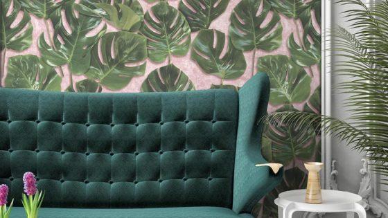 Monstera-Wallpaper-on-blush-Woodchip-Magnolia