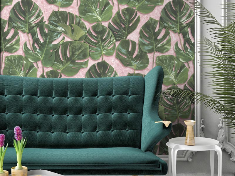 Monstera-Wallpaper-on-blush-Woodchip-Magnolia