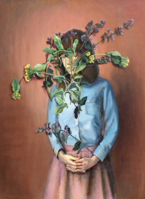 Olha Pryymak, Sage And Mint For Cold And Flu. Oil on canvas, 1016 x 762 mm.