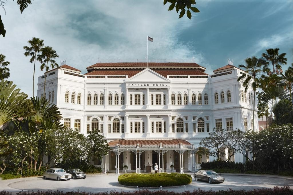 The exterior of the rich colonial Raffles Singapore