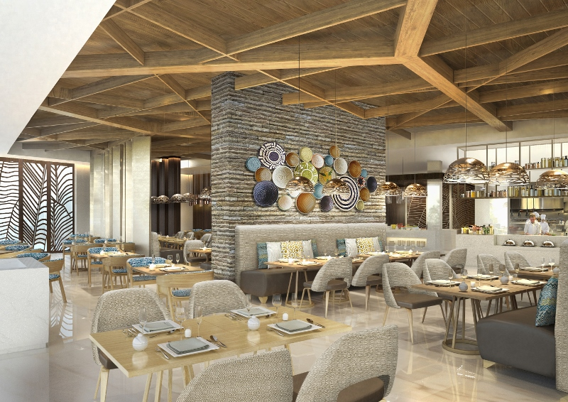 wooden ceilings shelter a luxury dining area compltee with art on walls and soft, comfortable seating
