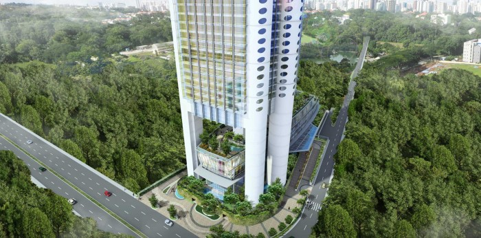 Exterior render of the towering hotel