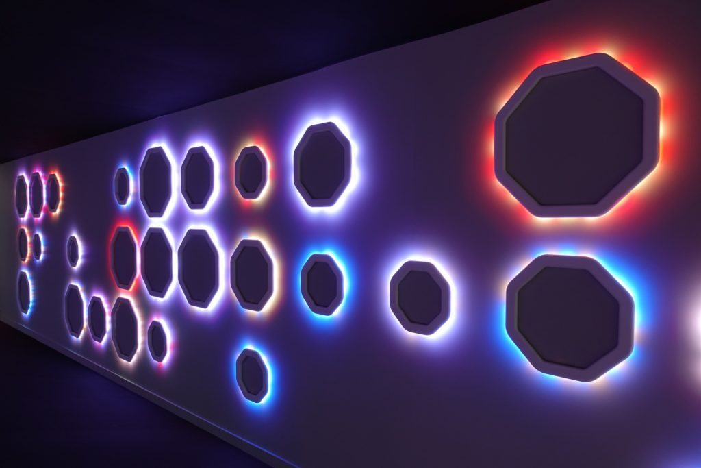 Moritz Waldemeyer's personalised lighting installation, Journey of Colour, was exhibited at Focus 18.