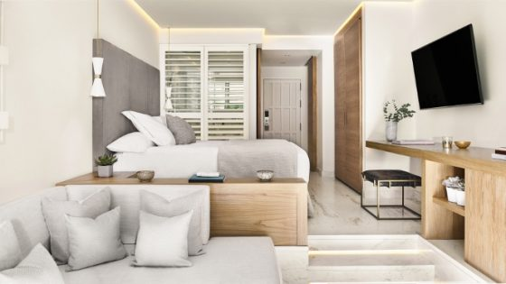 Soft white interiors in the junior suite