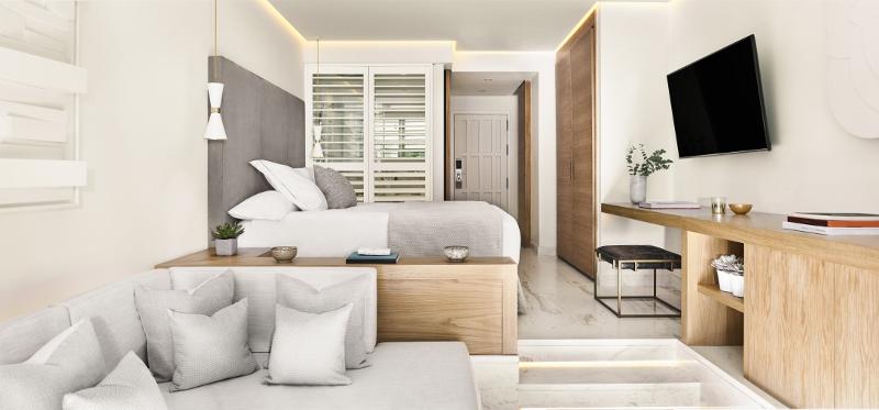 Soft white interiors in the junior suite