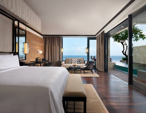 Contemporary bedroom view looking out onto the ocean