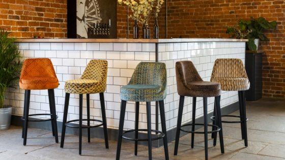 Bar stools featuring the new Skopos Fabric range