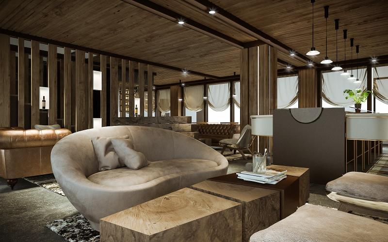 Contemporary sofa in a minimalistic bar