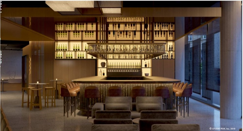Render of the bar in the hotel