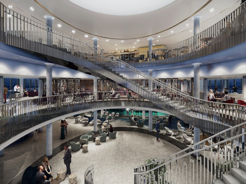 Render courtesy of Jestico + Whiles showing the large atrium inside P&O Cruises' Iona