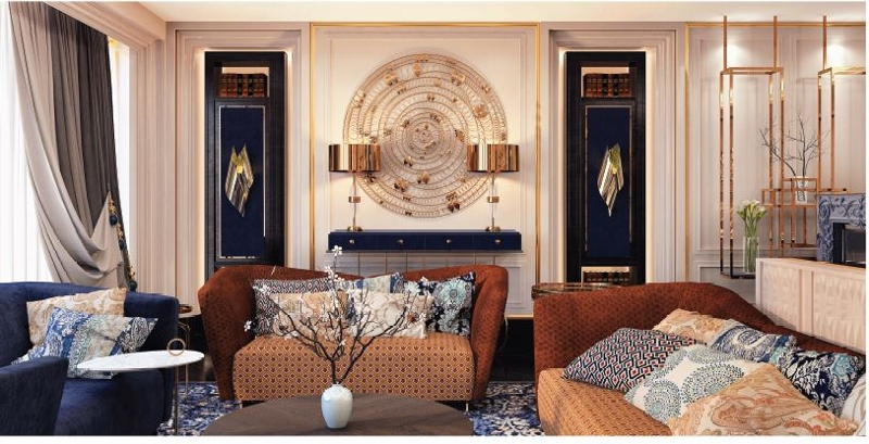 Blue and gold hues in the decor of the Ritz-Carlton Suite living room