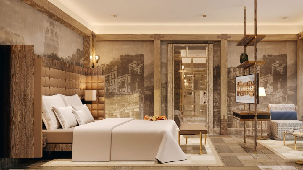 Wallcoverings reflecting the city of Malta and a large bed in a modern suite