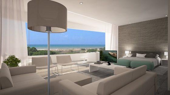 Large, minimalist room that overlooks the stunning Algarve